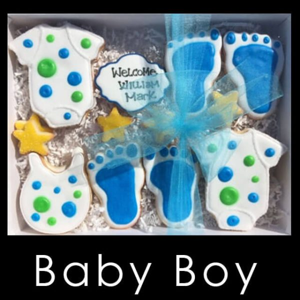 Baby Boy Cookie Box - Onesies and bibs with blue and green dots, blue footprint cookies