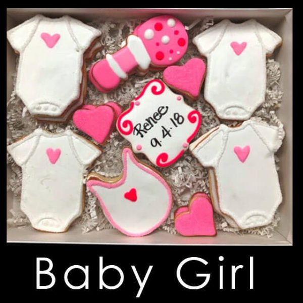 Baby Girl Cookie Box - Onesies and bibs with pink hears, pink rattle