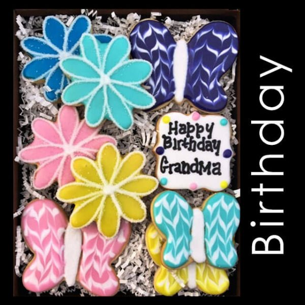 Birthday Cookie Box - Flowers and Butterflies