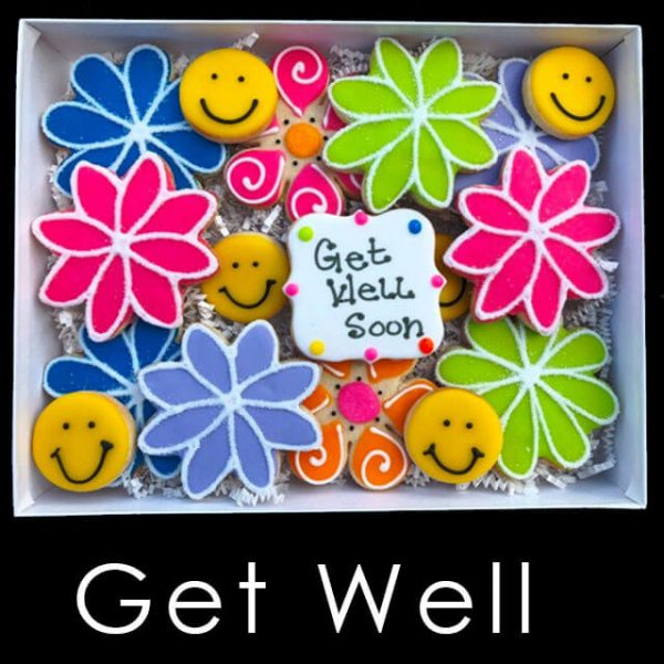 Get Well Cookie Box - Flowers and Smiley Faces