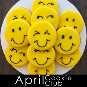 April Cookie Club Yellow Smiley Face cookies