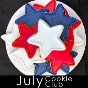 July Cookie Club - Red, white and blue star-shaped cookies