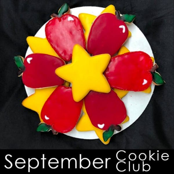 September Cookie Club - Red apples and yellow star cookies