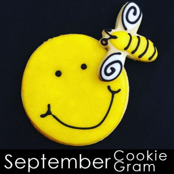September Cookie Gram - Smiley face with Bee cookie